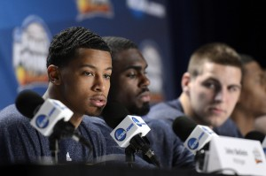 Michigan Wolverines guard Trey Burke (left) during a press conference the day before the championship game of the 2013 Final Four of the NCAA men's basketball tournament at the Georgia Dome. Mandatory Credit: Richard Mackson-USA TODAY Sports