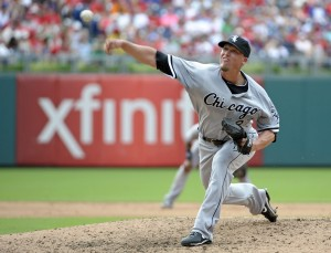 Chicago White Sox relief pitcher Matt Lindstrom (27) pitches during seventh inning against the Philadelphia Phillies during game one of a doubleheader at Citizens Bank Park. Mandatory Credit: Eric Hartline-USA TODAY Sports